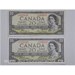 2x Bank of Canada 1954 $20.00 Modified Portrait and Devil Face. 2 Signature Sets (ATTN: 2 Times the