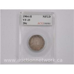 1904H NFLD Silver 20 Cent Coins (SOE) VF-25 'ACG'