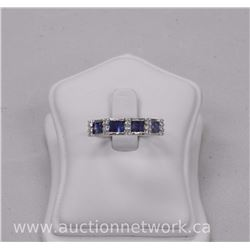 Ladies .925 Sterling Silver Custom Ring with 8 Baguette Blue Sapphires and Bead Set CZ (1.55ct) Size
