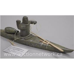 Original Stone Carving by Inuk Artist 'NOAH JAW' of Cape Dorset. 'Hunter in Kayak' Gallery: $2700.00