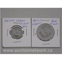 "2 x ""Arthur LaBelle"" Tokens. ""St. John's Quebec 1/2 Pain and a half loaf"" (ATTN: 2 times the bid pri"