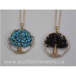 "2x Tree of Life - Gemstone Necklace 34"" with Turquoise and Smokey Quartz (ATTN: 2 Times the bid pric"
