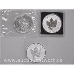 3x .9999 Fine Silver - 5 Dollar Maple Leaf bullion with Privy - Panda, E-MC 2, Olympics(ATTN: 3 Time
