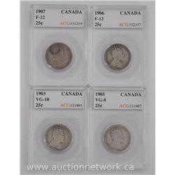 4x Canada Silver 25 Cent Coins (SMR) 1903, 1905, 1906, 1907 (VG-F) 'ACG' (ATTN: 4 Times the bid pric