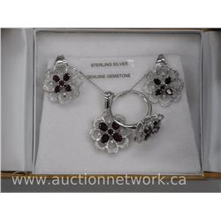 Ladies .925 Sterling Silver Diamond and Garnet Jewellery Set, Ring, Earring, Pendant and Chain. 4.62