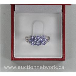 Ladies .925 Sterling Silver 'Modern Gallery' Style Tanzanite Ring with 10 Ovals = 2.75ct. SRRV: $525