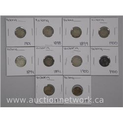 10x 'Victoria' Canada 10 Cent Coins. Early 1900s ( ATTN: 10 Times the bid price)