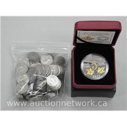 Lot Canada .9999 Fine Silver Large Five Cent Coin with 23kt Overlay and Bag of Nickels.