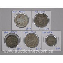 """5 x Mexico Silver Coins """"1924, 1932, 1938, 1947, 1950"""" (ATTN: 5 times the bid price)"""