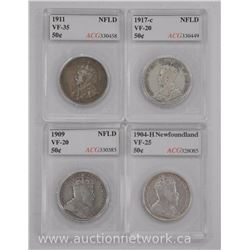 4x Canada Silver NFLD 50 Cent Coins (SKR): 1904-H, 1909, 1911, 1917C (VF) 'ACG' (ATTN: 4 Times the b