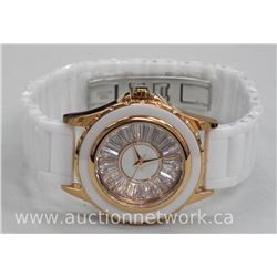Ladies Designer Watch with Swarovski Element Baguettes with White Stainless Steel and Ceramic Band.