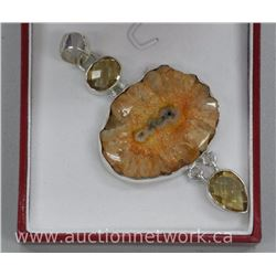 Ladies .925 Sterling Silver Fancy Custom Pendant, Bezel Cut Citrine Quartz = 2.65ct and Pear and Ova