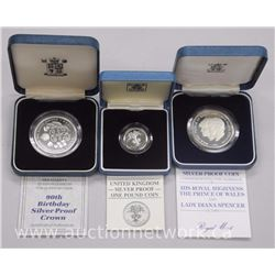 3x UK British .925 Sterling Silver Collector Coins. Cased with Papers (ATTN: 3 Times the bid price)