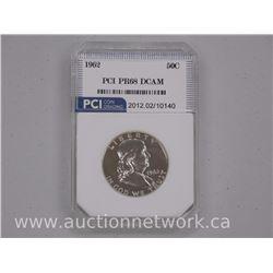 1962 US Franklin 50 Cent Coin US CAT: $525.00 PR68 DCAM 'PCI'