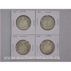 4x Canada Silver 50 Cent Coins: 1958-1960-1961-1962 (ATTN: 4 Times the bid price)