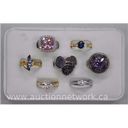 7x Lady's Custom Rings - Gold Plated .925 Sterling Silver with Swarovski Elements and CZ. Jewelers D