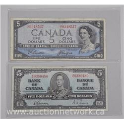 2x Bank of Canada Five Dollar Notes. 1937 - (EF) and 1954 (VF) (ATTN: 2 Times the bid price)