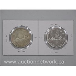 2x Canada 1953 Silver Dollar Coins. Shoulder and No Shoulder Straps. (ATTN: 2 Times the bid price)