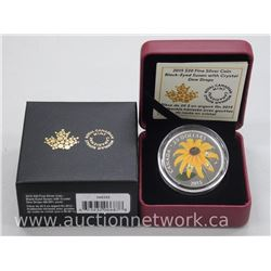 """2015 .9999 Fine Silver $20.00 Proof Coin """"Black eyed Susan"""" with Crystal Dew Drops. Limited Edition"""