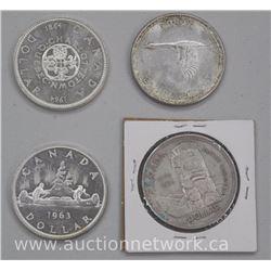 4x Canada Silver Dollar Coins. 1958, 1963, 1964, 1967 (ATTN: 4 Times the bid price)