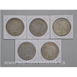 5x USA Silver Peace Dollar Coins: 1922,1923,1924,1925,1926 (ATTN: 5 Times the bid price)
