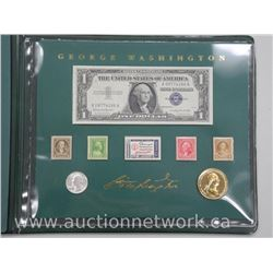 George Washington Collector Folio Stamps-Note-Coins