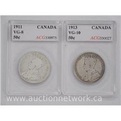 2x Canada Silver 50 Cent Coins (SCR) 1911-1913 VG10, VG-8 'ACG' (ATTN: 2 Times the bid price)