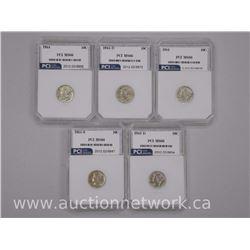 5x USA Silver Mercury 1- Cent Coins 1941, 1941S, 1942D, 1944, 1944d (PCI) (ATTN: 5 Times the bid pri