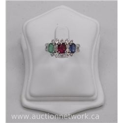 Ladies .925 Sterling Silver Custom Ring - 3 Gemstones Oval - Saphire, Ruby, Emerald - 1.99ct. Size 7