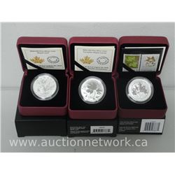 3x Royal Canadian Mint .9999 Fine Silver Maple Leaf Coins Limited Edition with Cert. (ATTN: 3 Times
