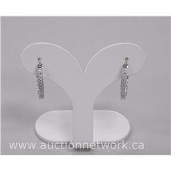 Ladies .925 Sterling Silver Diamond Set Hoop Earring. SRRV: $500.00