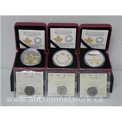 3x .9999 Fine Silver Large Five Cent Coins Limited Edition with Certs. Bonus - (3) ICCS Cert Five Ce