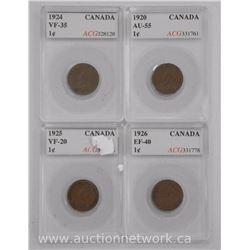 4x Canada 1 Cent Coins (AI) 1920, 1924, 1926, 1925 (VF-EF-AU) 'ACG' (ATTN: 4 Times the bid price)