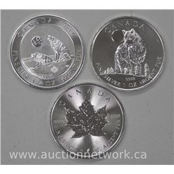 """3 x .9999 Fine Silver $5.00 and $2.00 coins. (2016 Maple, 2016 Maple, 2011 Wolf"""" Collector Bullion ("""