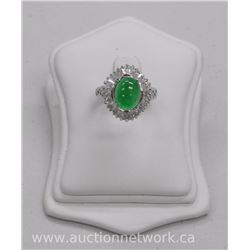 Ladies (C. Ormani) Custom Ring - .925 Sterling Silver Cabochon Oval Jade Stone with 28 Swarovski Ele