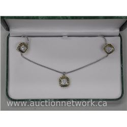 Ladies Chic Swarovski Element Pendant, Chain and Earring set. (Two Tone Pave Set)