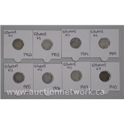 8x 'Edward' .925 Sterling Silver Canada 10 Cent Coins: 1902-1910 (ATTN: 8 Times the bid price)