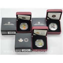 3x Royal Canadian Mint Twenty Five Cent Coloured Coin. 'Robin, Grosbeak, Meadowlark' Limited Edition