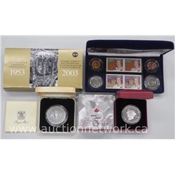3X Queen Elizabeth - Royalty Silver Coins - 80th Birthday Royal Visit to Canada, Coronation Stamp an