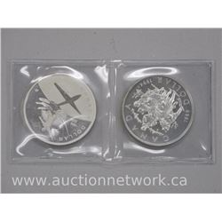 2x .925 Sterling Silver Canada Dollar Coins (1969-1994) (1909-2009) Uncirculated (SRR) (ATTN: 2 Time