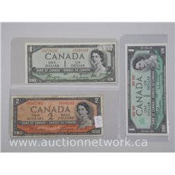 3x Bank of Canada 1967 One Dollar Note (Uncirculated), 1954 One Dollar Devil Face (Uncirculated) and