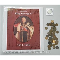 King George V Stamp Collection (1911-1936) and King George 1919 Silver Half Dollar Coin with 50 x Ki