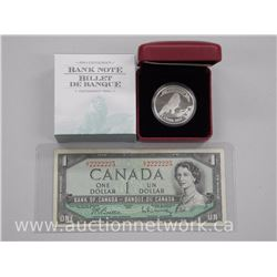 .9999 Fine Silver Bank Note Series Coin and Bank of Canada 1954 Special Serial Number Note One Dolla