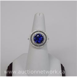 Ladies (MG) .925 Sterling Silver Custom Ring, 3.25ct Sapphire blue Round Swarovski Elements and 73 C