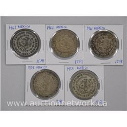 5x Mexico Silver Coins (1958-1963) (ATTN: 5 Times the bid price)