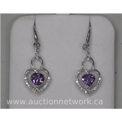 Ladies .925 Sterling Silver Heart Cut Amethyst and CZ Drop Earring Inset Bead Fashion - Retro Dangle