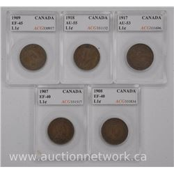 5x Canada Large 1 Cent Coins (CZ) 1907,1908,1909,1917,1918 (EF-AU) 'ACG'(ATTN:5 Times the bid price)