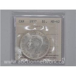 1937 Canada Silver Dollar Coin (CR) MS-63 'ICCS'
