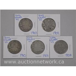 5x King Edward VII Silver Fifty Cent Coins: 1903, 1907, 1908, 1909, 1910 (ATTN: 5 Times the bid pric