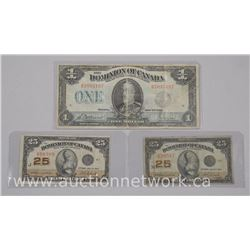3 x Dominion of Canada 1923 Banknotes. 1 x One Dollar Note (VG), 2 x Twenty Five Cent Notes (VG) (AT
